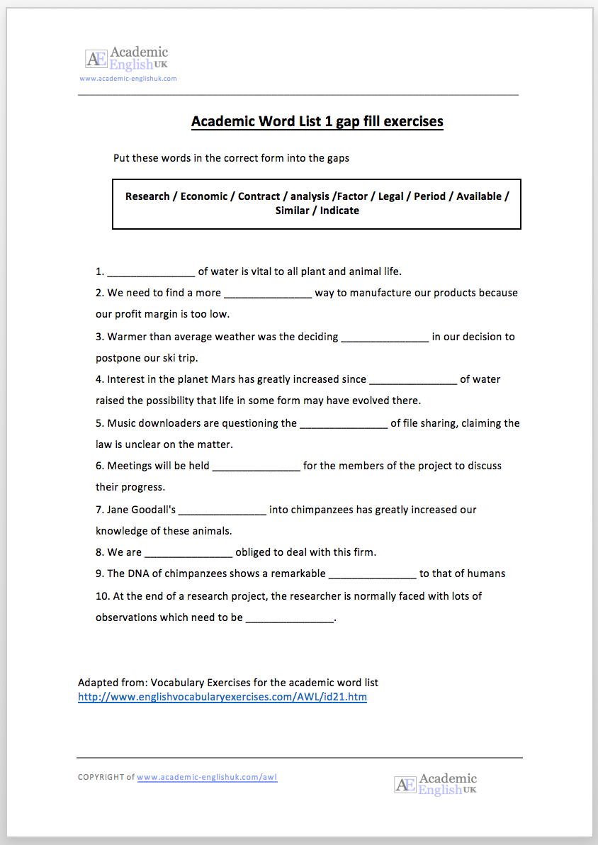 Academic Word List (AWL): AWL lessons & AWL Worksheets