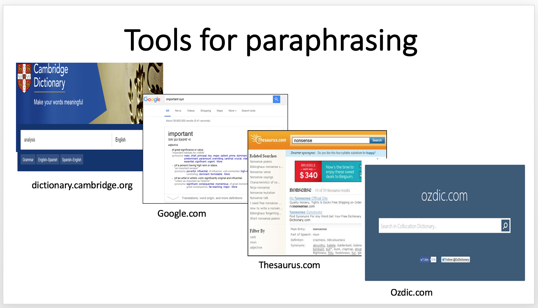 Selecting a Paraphrasing Website