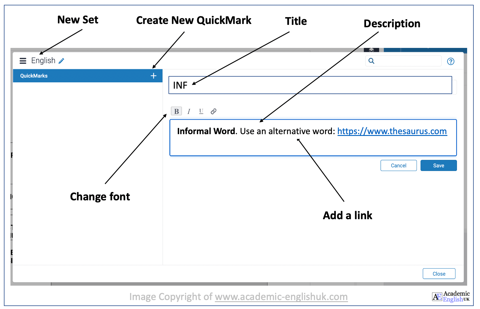 how to create a QuickMark