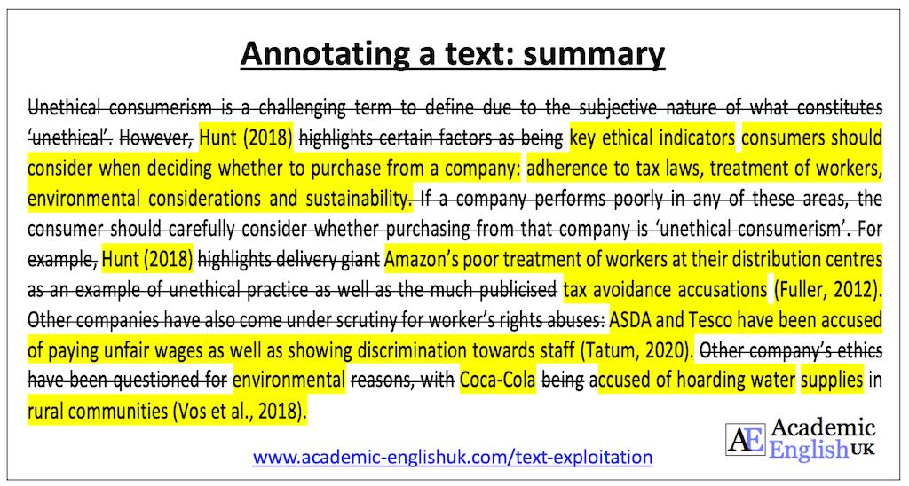 text exploitation - write a summary