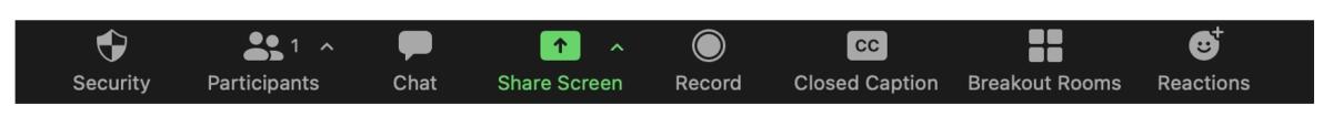 video-conferencing tool bar