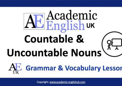 Academic countable & uncountable nouns