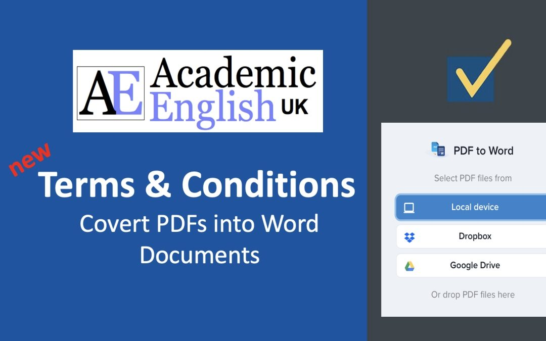 New PDF to Word Terms and Conditions