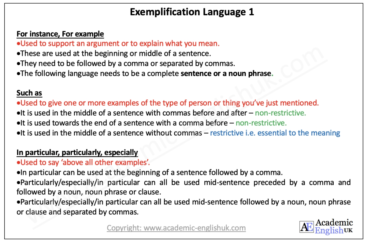 exemplification language 1
